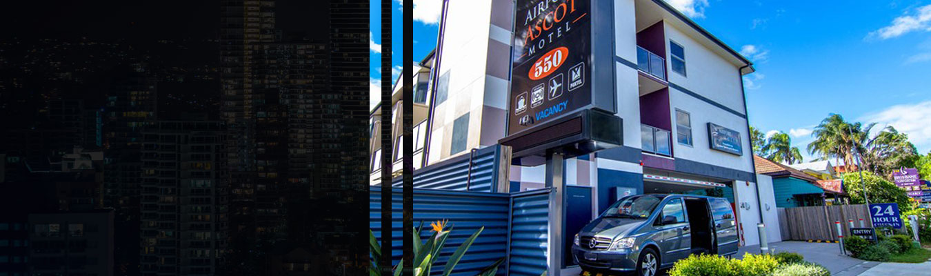motel banner with buildings